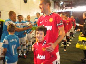 Hugo as Mascot at Manchester United.