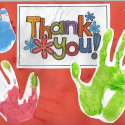 A very colourful and glittery thank you card from Brian House Hospice