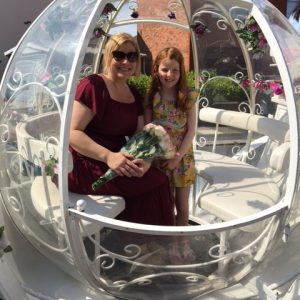 Laila & mum in her special transport to take them to be pampered