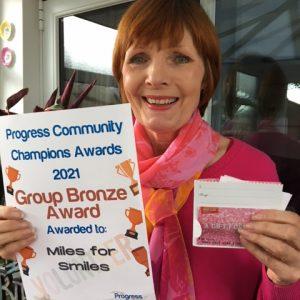 Karen with her Bronze Award for Community Champions